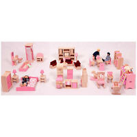 Brand Doll House Furniture Full Set Of 6 Room Furnitures + Family Dolls