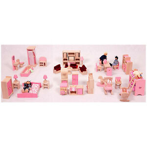 BRAND NEW DOLL HOUSE FURNITURE FULL SET OF 6 ROOM FURNITURES + FAMILY DOLLS