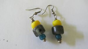 ANCIENT-Multi-Color-BEADS-Silver-Style-Wire-Dropping-Earring-THAILAND