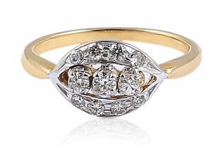 0-35-Cts-Natural-Diamonds-Engagement-Ring-In-Solid-Certified-18Karat-Yellow-Gold