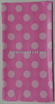 Polka Dot Plastic table Cover Rectangular 54 x 84 Inch Tablecloth - U Pick Color