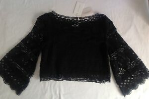 Ladies Crop Anglaise Black Top Nwt New Broderie Foxiedox Uk10 Small Sleeve Long EwxS7vqx