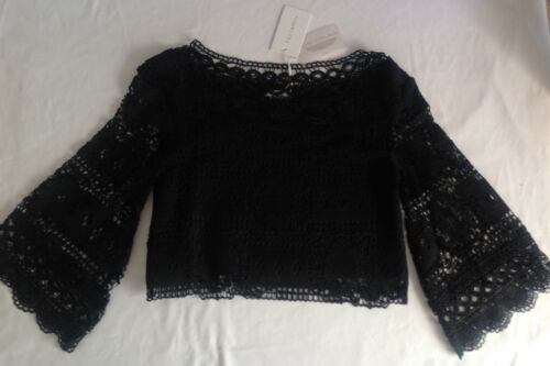 NWT Foxiedox New Ladies X Small UK8 Black Long Sleeve Broderie Anglaise Crop Top