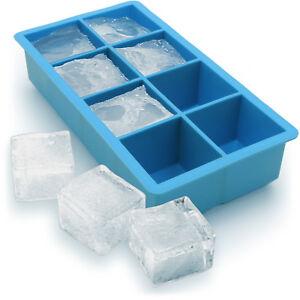 1x Ice Cube Tray 8 Extra Large Square Food Grade Jumbo Ice Cube Moulds Whiskey