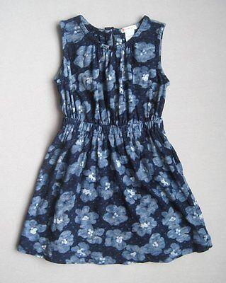 Crewcuts Girls 5 Yrs Sleeveless Blue & White Hawaiian Floral Dress EUC