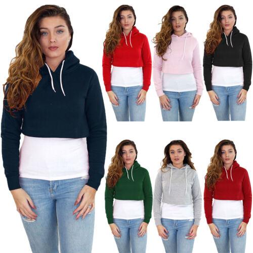 New Ladies Crop Hoodie Women Pull Over Plain Casual Short Hooded Sweat Shirt Top