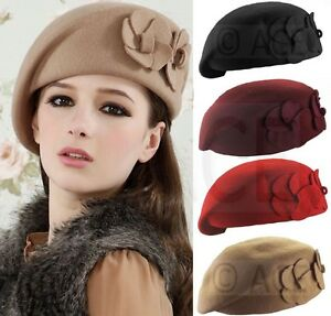 Ladies Beret Womens Women Classic 100% Wool Beret Hats French Hat ... 1b70a6e44d3