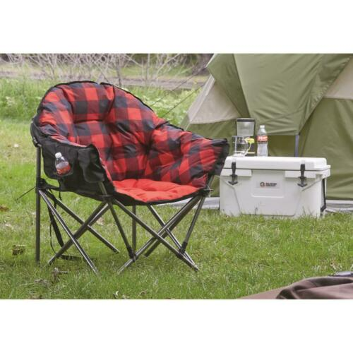 Oversize Foldable Camping Chair Portable Outdoor Plaid Padded Cup 500 lb Steel