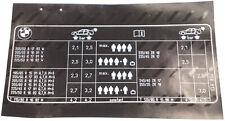 BMW E39 M5 tabella PRESSIONE PNEUMATICI etichetta Grafico Adesivo 71242228858