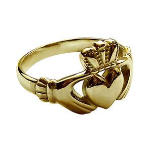 Gold-Claddagh-Ring-9ct-Gelbgold-irischen-Made-Bespoke-Hand-fertigen-NEU-J-Z-NEU