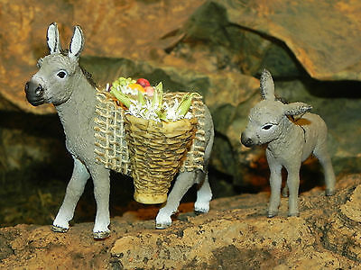 """Donkey Set/2 Figurine for 3.5"""" Nativity Village Creche Manger Pesebre Burro"""