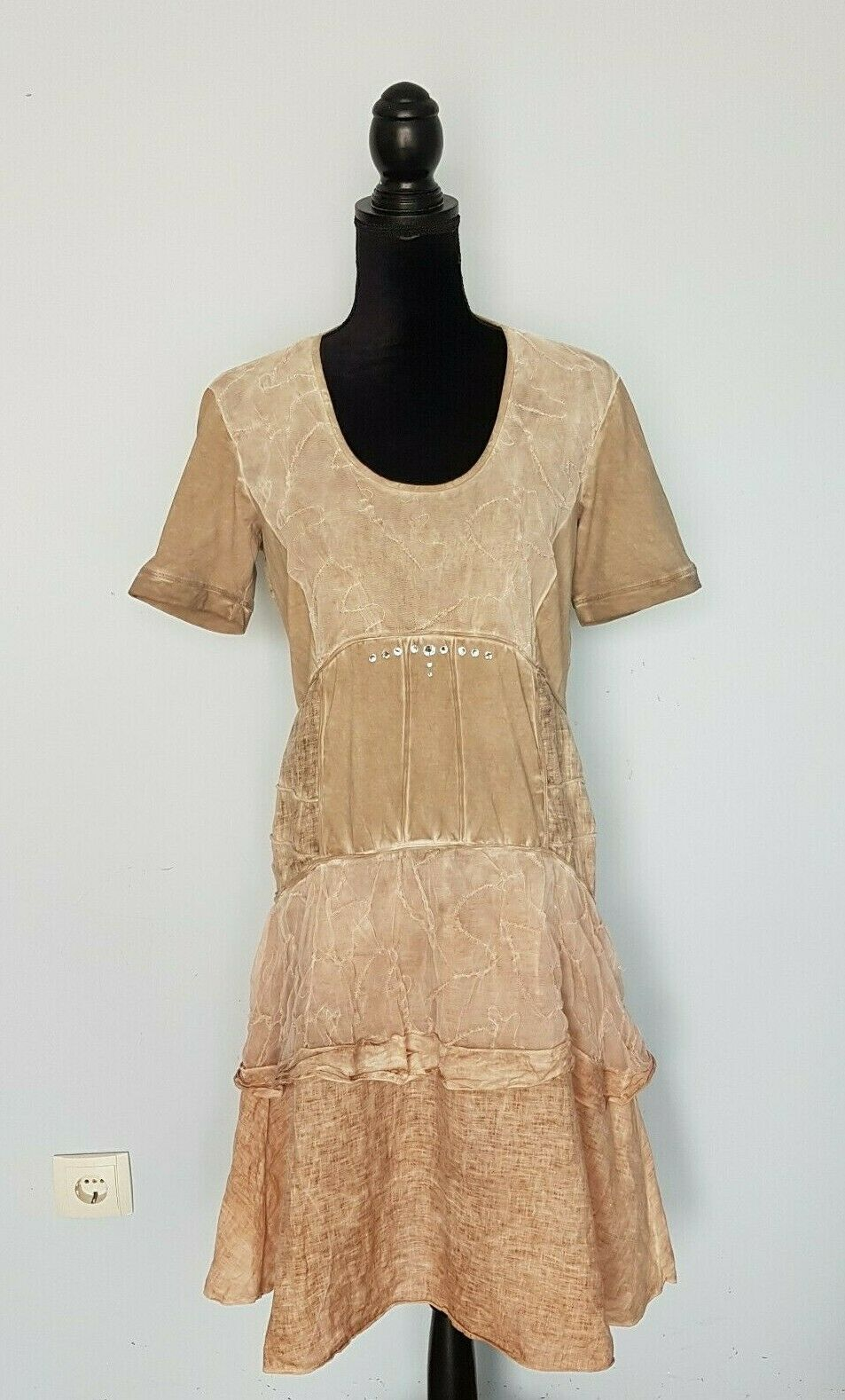 ELISA CAVALETTI Beige Linen   Cotton Short Sleeves Dress Größe L