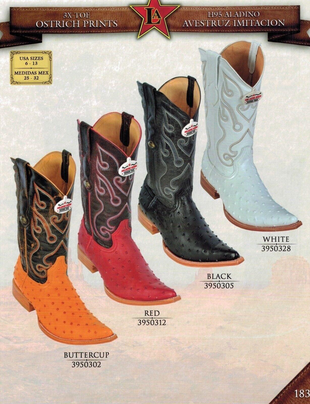 Los Altos Men's 3X Toe Ostrich Print Pull Up Cowboy Western Boots