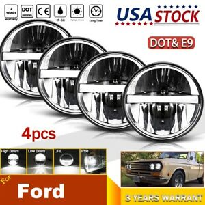 "4PCS 5.75/"" 5-3//4/"" LED Headlight Halo DRL Angel Eyes Projector Beam for Ford LTD"