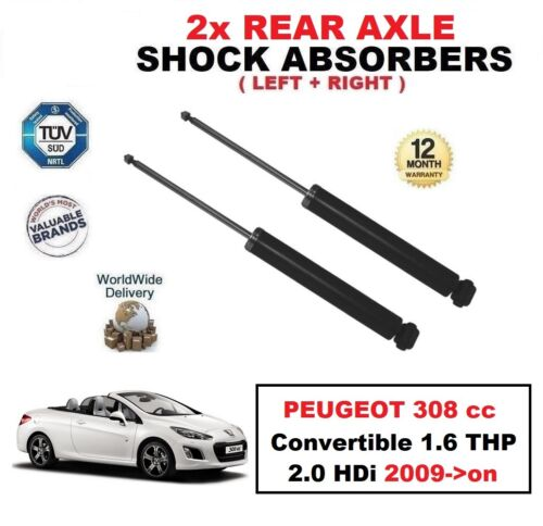 2x REAR SHOCK ABSORBERS for PEUGEOT 308 cc Convertible 1.6 THP 2.0 HDi 2009-/>on