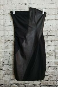3c91c6fb2f0 Image is loading Alice-Olivia-Black-Silk-Leather-Stretch-Strapless-Dress-