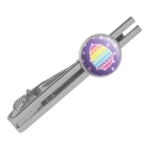 Cute Rainbow Happy Easter Egg Round Tie Bar Clip Clasp Tack Silver Color Plated