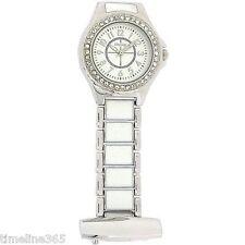 Henley Glamour Crystal White Enamel Silver Beautician Nurses Fob Watch HF06.1