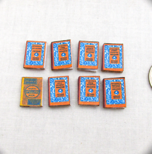 "1:24 Scale 8 McGuffey Reader Miniature Books Prop Faux Fill a Bookshelf 1//2/"""