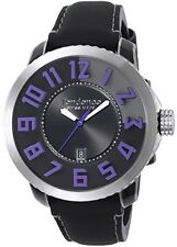 Tendence Swiss Made Watch Black Purple Dial Black Leather Strap Date TE450006