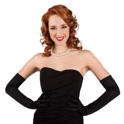 elegante Opernhandschuhe  schwarz  60 cm lang Damen Handschuhe - Kostüm #3100