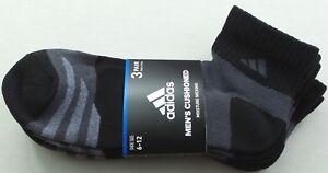 2e1f9d5c727763 adidas Men s Quarter Crew Socks 3 Pair Pack Large Black Grey ...