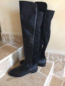 4b665e573e4 Via Spiga Alto Leather Over the Knee Boot Black Size 6M New