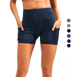 Women-039-s-High-Waist-Workout-Yoga-Running-Compression-Exercise-Shorts-Side-Pockets