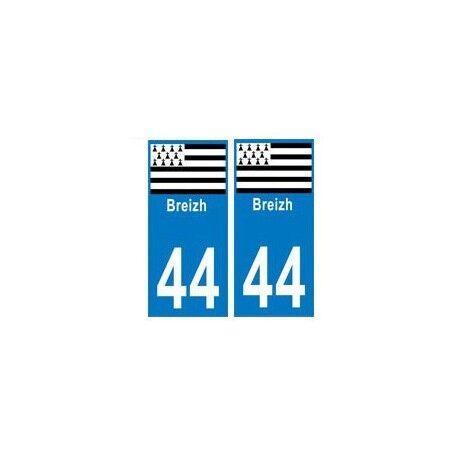 44 breizh bretagne autocollant plaque -  Angles : droits