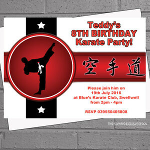 Image Is Loading Boys Karate Martial Arts Kids Birthday Party Personalised
