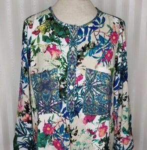 Fig-amp-Flower-Anthropologie-Sz-M-Dress-Tunic-Cover-Up-Boho-Floral-Multi-Color-EUC