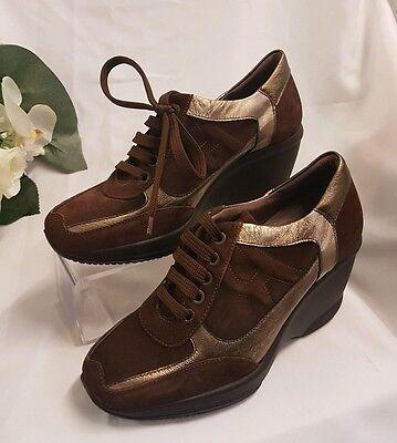 Damen SCHUHE halb Sneaker Made Italy Braun 89EUR Gr 41 keil Absatz 8cm