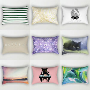 Am-PW-KQ-JN-Stripe-Cat-Sunset-Pattern-Pillow-Case-Cushion-Cover-Sofa-Bed-Hom