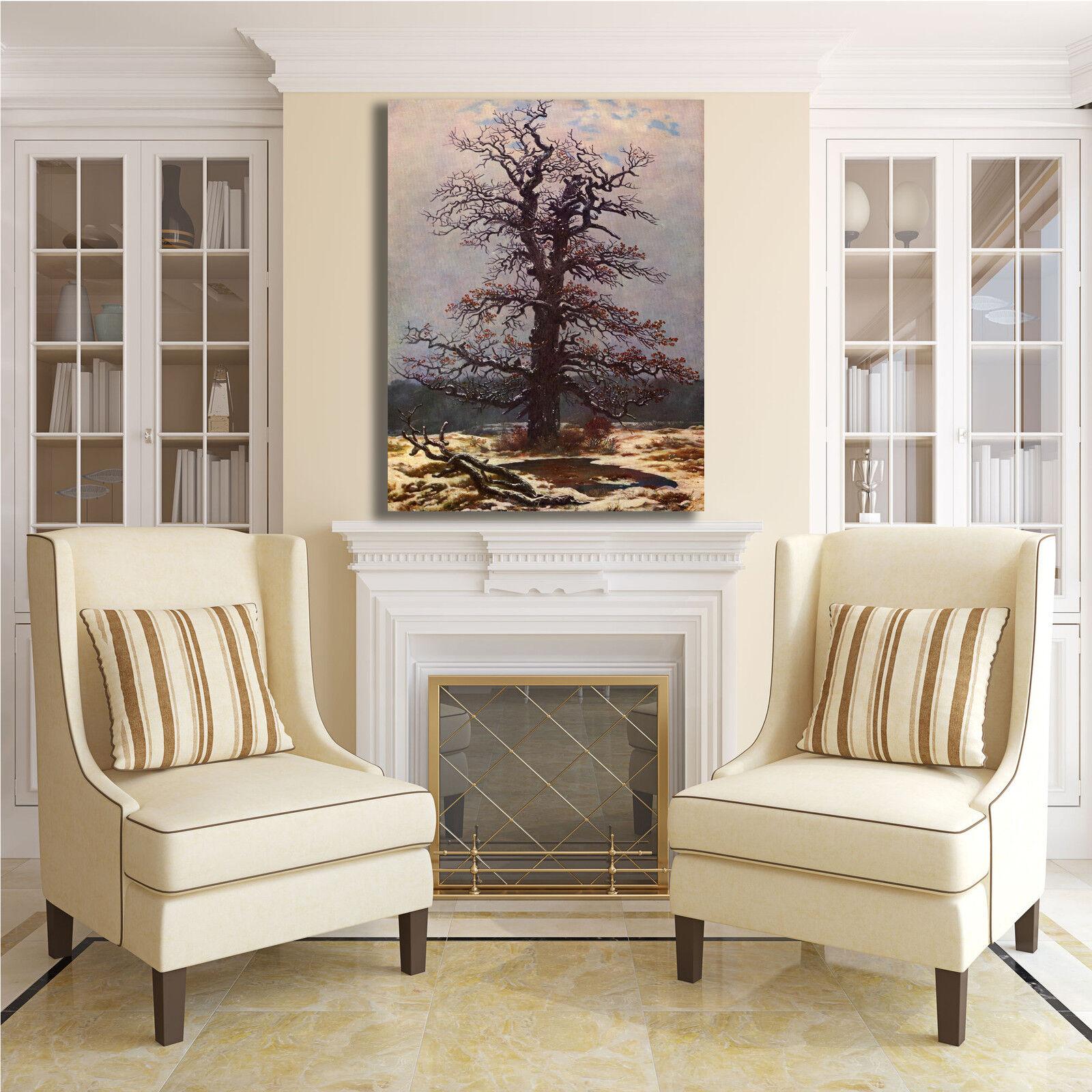 Caspar quercia nella neve design quadro stampa tela dipinto telaio o arRouge o telaio casa 364ecb