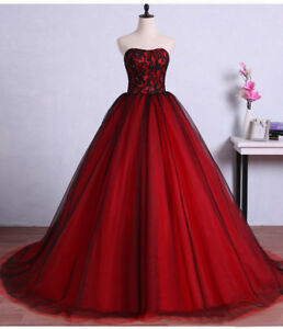 Details about Vintage Red Black Gothic Wedding Dresses Lace Sweetheart  Bridal Gowns Plus Size