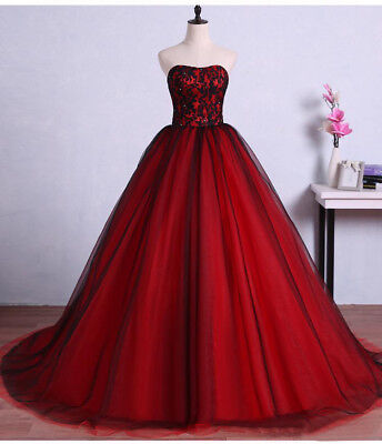 Vintage Red Black Gothic Wedding Dresses Lace Sweetheart Bridal Gowns Plus  Size | eBay