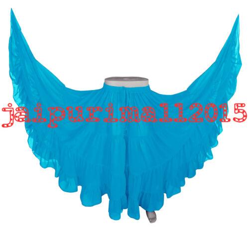 TEAL BLUE Chiffon Gypsy 25 Yard Skirt Tribal Belly Dance 25 Yd Skirts S~3XL