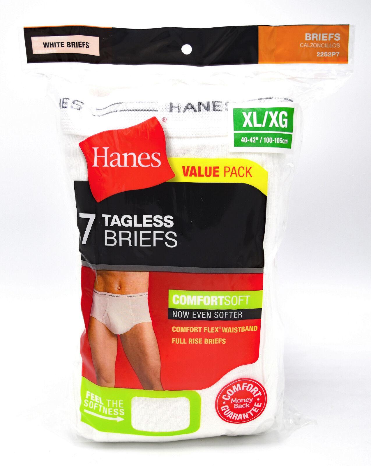 7 Hanes White Extra Large XL 40-42 Inch Briefs Comfort Flex Waistband 100-105 CM
