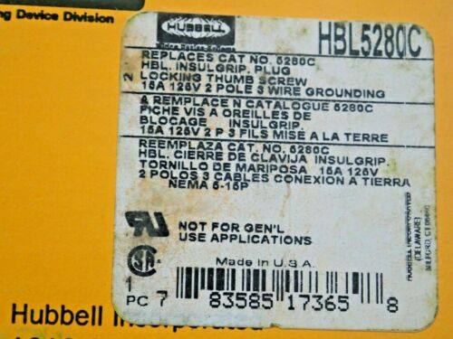 Details about  /Hubbell HBL5280C Straight Blade  locking Thumb Screw plug 15A 125V 2P 3W