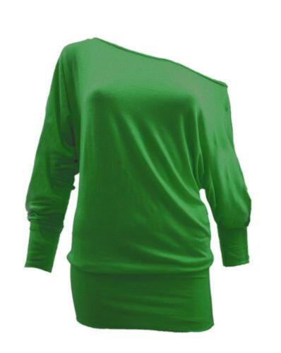 Ladies Women Batwing Long Sleeves Baggy Top Plain Jumper Jersey Plus Size 8-26