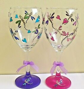 5bb959801d2 Details about Decorated Wine Glass Personalised Hand Painted Dragonflies  Teacher Gift