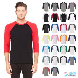 Premium-TriBlend-Raglan-3-4-Sleeve-Baseball-Plain-Tee-Jersey-Soft-Blend-T-Shirt