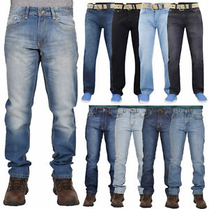 Mens-Denim-Jeans-Cotton-Regular-Fit-Straight-Leg-Trousers-Pants-Big-amp-Tall-Sizes
