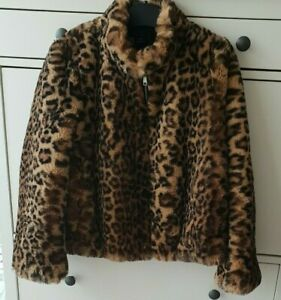 Zara Print Faux 19 S Taglia 8 Leopard Aw18 cappotto Fur Uk Giacca Bnwt BHSxTrqwB