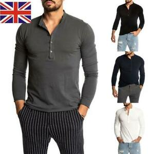 Mens Long Roll Sleeve Barista Shirt Top Henley Grandad Collarless Button Breton