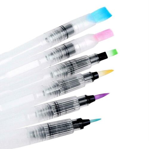 6 Set Water Color Brush Refillable Pen Watercolor Color Supplies Painting Art