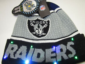 e0799806aa2 Oakland Raiders team Name NFL LED Light Up Hat Winter Pom ...