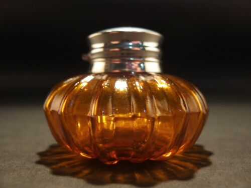 Vintage Antique Style Round Amber Glass Inkwell Ink pot Bottle