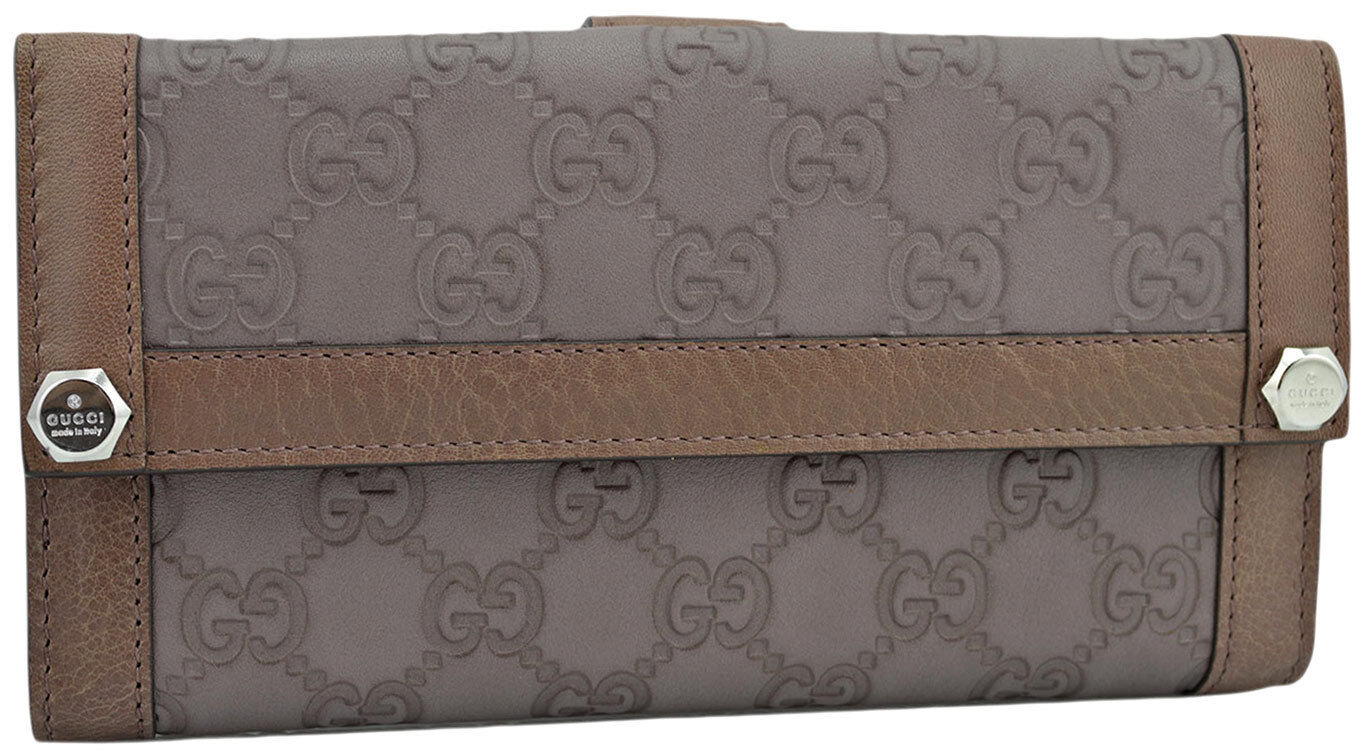 a9fdd4b9b22b8 Details about  595 GUCCI Brown Taupe 2 Tone GUCCISSIMA Leather Womens Clutch  Wallet