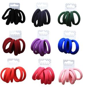 Set-of-6-Coloured-Soft-Jersey-Endless-Fabric-Hair-Elastics-Bobbles-Ponios-Bands
